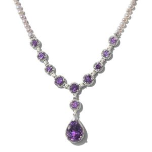 Moroccan Amethyst, Multi Gemstone Platinum Over Sterling Silver Necklace (18 in) TGW 9.52 cts.
