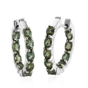 Jessica's Host Pick Natural Green Apatite Platinum Over Sterling Silver Hoop Earrings TGW 2.70 cts.