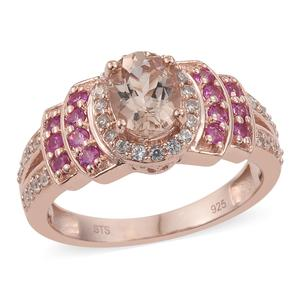 Marropino Morganite, Multi Gemstone Vermeil RG Over Sterling Silver Ring (Size 5.0) TGW 1.85 cts.