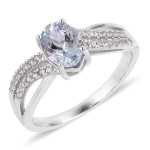 Espirito Santo Aquamarine, White Zircon Sterling Silver Ring (Size 7.0) TGW 1.43 cts.