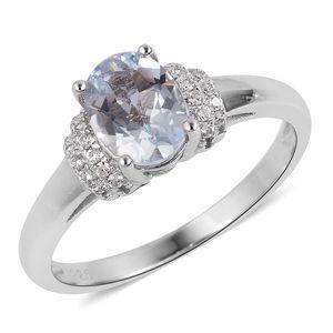 Espirito Santo Aquamarine, White Zircon Sterling Silver Ring (Size 7.0) TGW 1.21 cts.