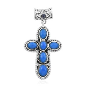 Artisan Crafted Ceruleite, Catalina Iolite Sterling Silver Reversible Cross Pendant without Chain TGW 3.23 cts.