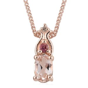 Marropino Morganite, Morro Redondo Pink Tourmaline, Diamond Accent Vermeil RG Over Sterling Silver Pendant With Chain (20 in) TGW 0.47 cts.