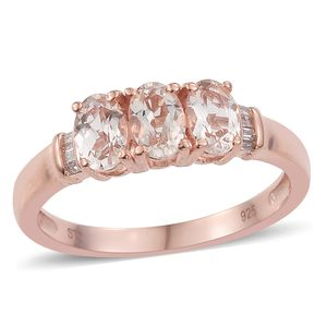 Marropino Morganite, Diamond Vermeil RG Over Sterling Silver Ring (Size 5.0) TDiaWt 0.06 cts, TGW 0.90 cts.