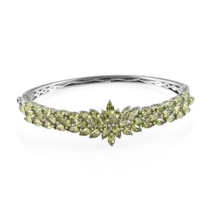 Hebei Peridot Platinum Over Sterling Silver Bangle (7.25 in) TGW 11.95 cts.