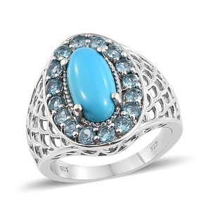 Arizona Sleeping Beauty Turquoise, Electric Blue Topaz Platinum Over Sterling Silver Ring (Size 7.0) TGW 4.35 cts.