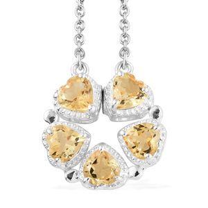 Multi Wear Brazilian Citrine Sterling Silver Flower Heart Necklace with Stainless Steel Chain (18-20 in) TGW 2.05 cts.