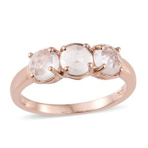 Galilea Rose Quartz 14K RG Over Sterling Silver Trilogy Ring (Size 5.0) TGW 2.25 cts.
