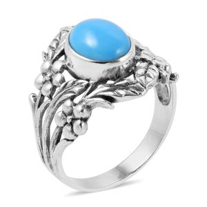 Bali Legacy Collection Arizona Sleeping Beauty Turquoise Sterling Silver Nature Inspired Ring (Size 5.0) TGW 2.15 cts.
