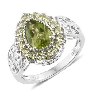 Hebei Peridot Platinum Over Sterling Silver Ring (Size 8.0) TGW 2.56 cts.