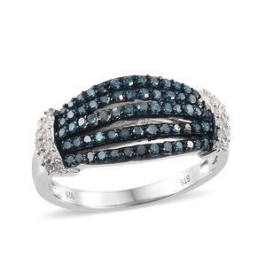 Blue Diamond (IR), Diamond Blue Rhodium & Platinum Over Sterling Silver Ring (Size 7.0) TDiaWt 0.75 cts, TGW 0.75 cts.
