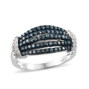 Blue Diamond (IR), Diamond Blue Rhodium & Platinum Over Sterling Silver Ring (Size 8.0) TDiaWt 0.75 cts, TGW 0.75 cts.