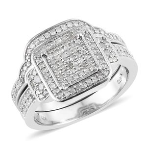 Diamond Cluster Ring with Guard in Platinum Over Sterling Silver 0.75 cttw (Size 7.0)