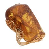 Artisan Crafted Baltic Blue Amber 14K YG Over Sterling Silver Openwork Elongated Ring (Size 7.0)