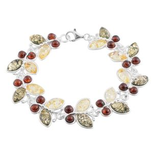 Artisan Crafted Multi Color Amber Sterling Silver Butterfly Bracelet (7.00 In)