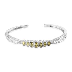 Madagascar Sphene Platinum Over Sterling Silver Cuff (7.25 in) TGW 1.72 cts.