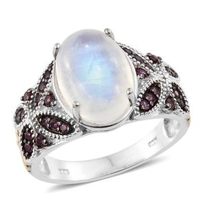 Rainbow Moonstone, Orissa Rhodolite Garnet 14K YG and Platinum Over Sterling Silver Butterfly Ring (Size 7.0) TGW 7.92 cts.