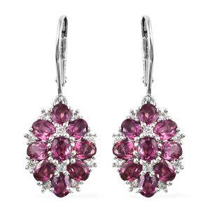 Purple Garnet, Cambodian Zircon Platinum Over Sterling Silver Lever Back Earrings TGW 4.70 cts.