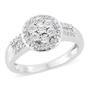 Diamond Platinum Over Sterling Silver Ring (Size 5.0) TDiaWt 0.25 cts, TGW 0.25 cts.