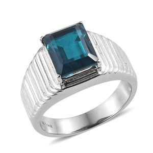 Indicolite Quartz Stainless Steel Men's Ring (Size 10.0) TGW 6.15 cts.