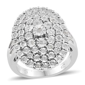 Diamond Platinum Over Sterling Silver Ring (Size 6.0) TDiaWt 0.50 cts, TGW 0.50 cts.