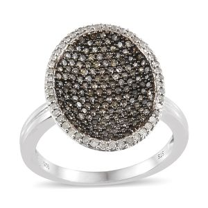 Natural Champagne Diamond, Diamond Black Rhodium & Platinum Over Sterling Silver Ring (Size 10.0) TDiaWt 1.00 cts, TGW 1.00 cts.