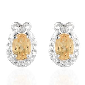 Brazilian Citrine, Cambodian Zircon Sterling Silver Earrings TGW 1.35 cts.