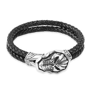 For Halloween Genuine Leather & Black Oxidized Stainless Steel Skull Bracelet (8.50 In)