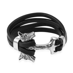 For Halloween Microfiber Leather & Black Oxidized Stainless Steel Wolf Head Bracelet (8.50 In)