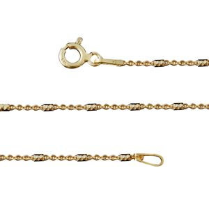 14K YG Over Sterling Silver Tube Station Chain (20 in, 2.4g)