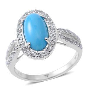 Arizona Sleeping Beauty Turquoise, White Zircon Sterling Silver Halo Ring (Size 7.0) TGW 3.88 cts.