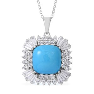 Arizona Sleeping Beauty Turquoise, White Topaz Sterling Silver Pendant With Chain (18 in) TGW 8.41 cts.