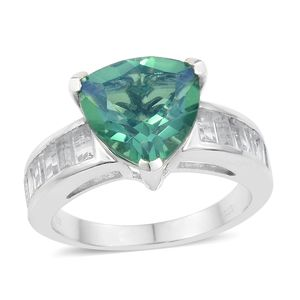 Peacock Quartz, White Topaz Platinum Over Sterling Silver Ring (Size 7.0) TGW 7.91 cts.