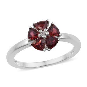 Orissa Rose Garnet, Cambodian Zircon Sterling Silver Ring (Size 7.0) TGW 1.63 cts.