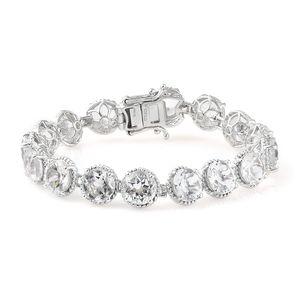 Golconda Diamond Topaz Platinum Over Sterling Silver Bracelet (6.50 In) TGW 36.20 cts.