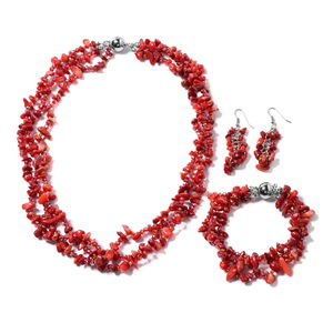 TLV Multi Wear Coral, Seed Bead Silvertone Earrings, Triple Strand Bracelet (8 in) and Necklace (20.00 In) TGW 365.00 cts.