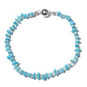 Arizona Sleeping Beauty Turquoise, Ethiopian Welo Opal Platinum Over Sterling Silver Chip Bead Bracelet with Magnetic Clasp (8.00 In) TGW 15.00 cts.