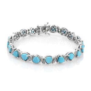 Arizona Sleeping Beauty Turquoise Platinum Over Sterling Silver Bracelet (7.25 In) TGW 11.30 cts.