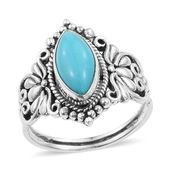 Artisan Crafted Arizona Sleeping Beauty Turquoise Sterling Silver Butterfly Split Ring (Size 6.0) TGW 2.26 cts.