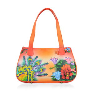 SUKRITI - Orange Floral and Butterfly Hand Painted Genuine Leather Shoulder Bag with Standing Studs (15x3.5x9 in)