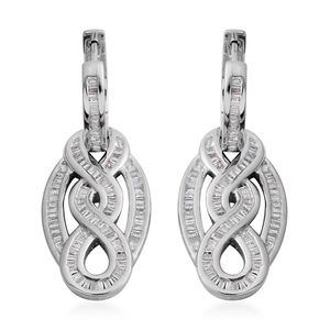 Diamond Platinum Over Sterling Silver Latch Back Dangle Earrings TDiaWt 1.00 cts, TGW 1.00 cts.