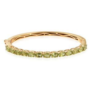 KARIS Collection - Hebei Peridot ION Plated 18K YG Brass Bangle (6.50 in) TGW 6.40 cts.