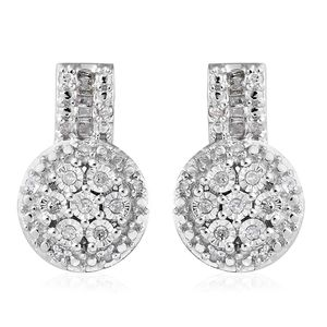Diamond Platinum Over Sterling Silver Drop Earrings TDiaWt 0.25 cts, TGW 0.25 cts.