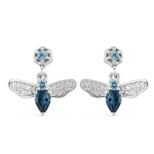 London Blue Topaz, Multi Gemstone Platinum Over Sterling Silver Bee Earrings TGW 1.80 cts.