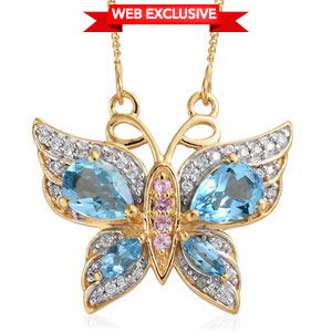 Blue Topaz, Multi Gemstone Vermeil YG Over Sterling Silver Butterfly Pendant With Chain (20 in) TGW 2.38 cts.