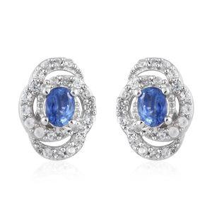 Ceylon Blue Sapphire, Cambodian Zircon Platinum Over Sterling Silver Stud Earrings TGW 0.78 cts.