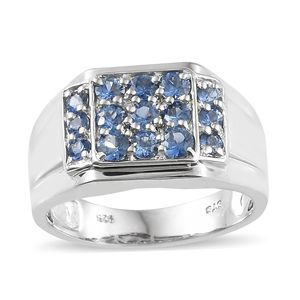 Ceylon Blue Sapphire Platinum Over Sterling Silver Men's Ring (Size 9.0) TGW 1.78 cts.
