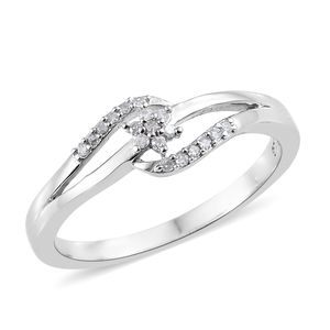 Diamond Platinum Over Sterling Silver Ring (Size 8.0) TDiaWt 0.10 cts, TGW 0.10 cts.