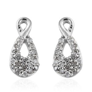 Diamond Platinum Over Sterling Silver Earrings TDiaWt 0.20 cts, TGW 0.20 cts.