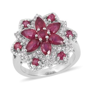 Niassa Ruby, White Zircon Sterling Silver Ring (Size 7.0) TGW 3.08 cts.